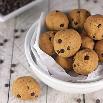 Vegan Cookie Dough Protein Balls In Bowl