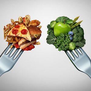 junk food vs green veggies