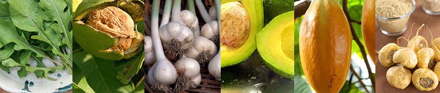 Arugula Leaves, Walnuts, Garlic Bunch, Avocado, Cacao Fruit, Maca
