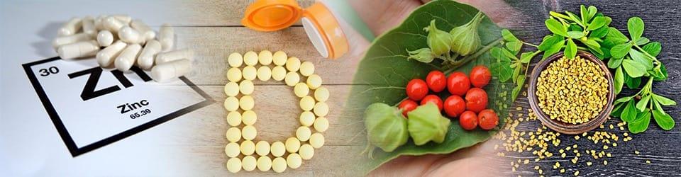 Zinc,Vitamin D, Ashwagandha, Fenugreek