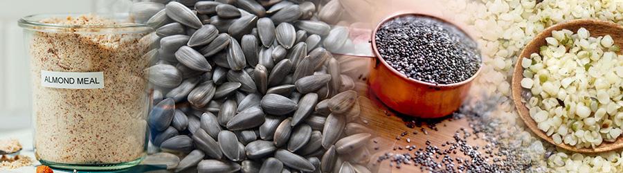 Almond Meal, Chia Seeds, Hemp Hearts , Salt etc
