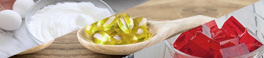 egg whites, fish oil, gelatin