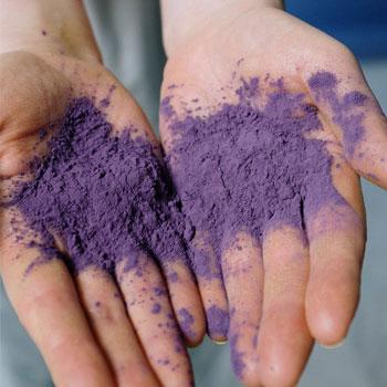 purple powder on the palms