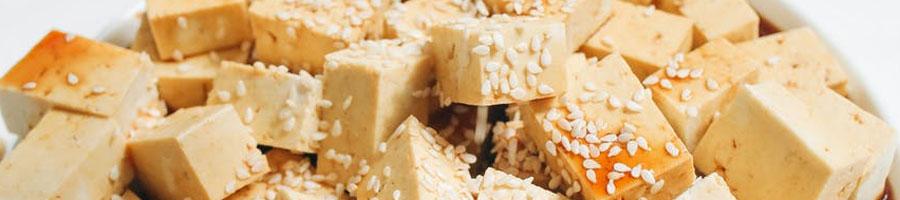 tofu with sauce and sesame seeds