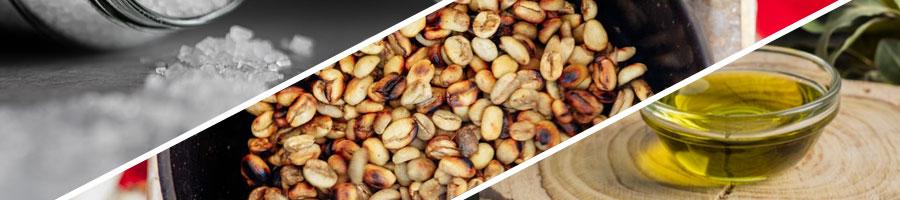 Salt, Roasted Nuts, Oil