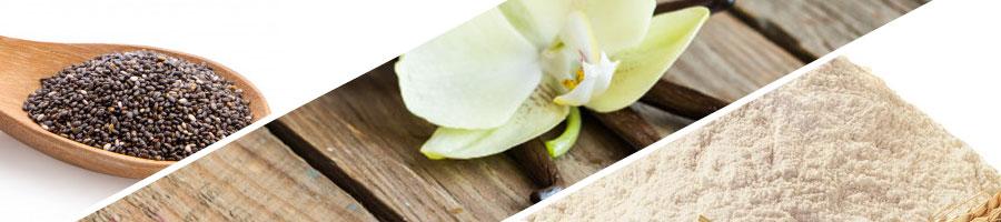 chia seeds, vanilla, flour