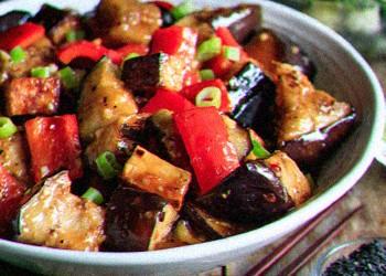 Eggplant Tofu on bowl